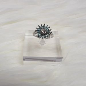 Jewelry - Sterling Silver Plated Aquamarine Flower Ring